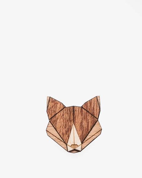 BeWooden Drevená brošňa v tvare líšky BeWooden Fox Brooch