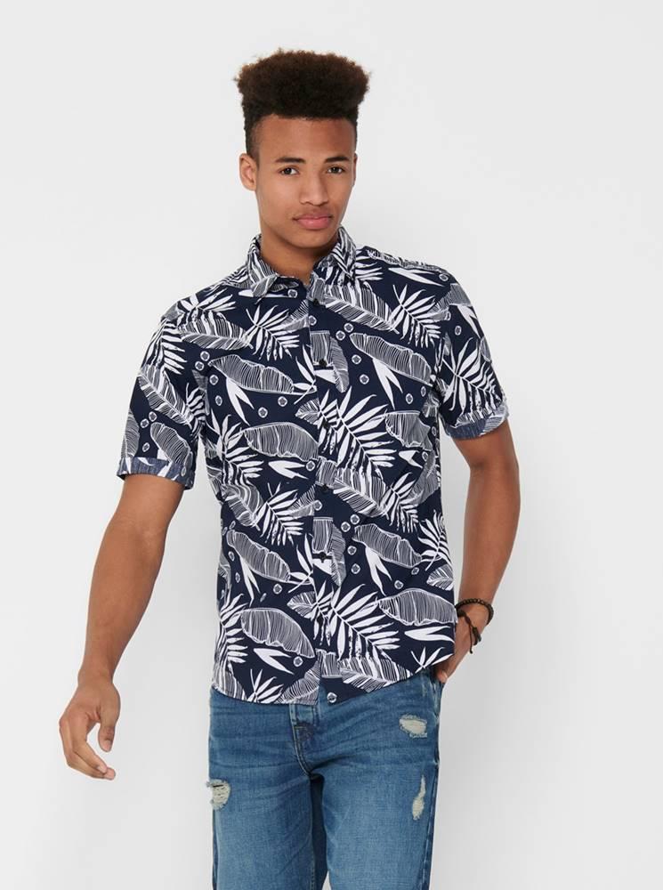 ONLY & SONS Tmavomodrá vzorovaná košeľa ONLY & SONS