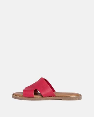 Červené kožené šľapky Tamaris