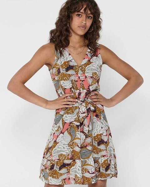 Only  Hnedé kvetované šaty ONLY Gusta