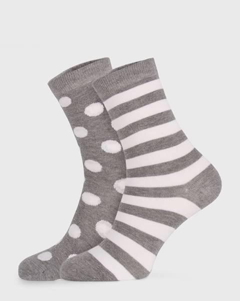 JOHN FRANK 2 PACK sivých dámskych ponožiek Long